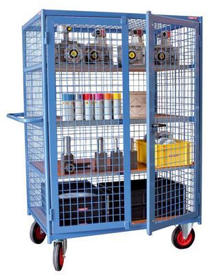 Armoire grillag e vide 1000 x 700 mm 500 kg 2 roues caoutchouc non tachantes frein - Armoire informatique industrielle ...