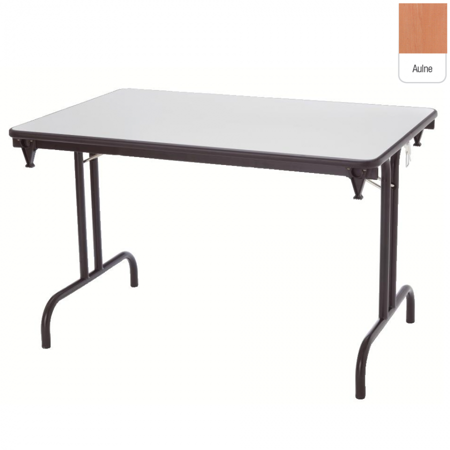 Table pliante dune 120x40 pi tement noir plateau aulne for Table pliante exterieur professionnel