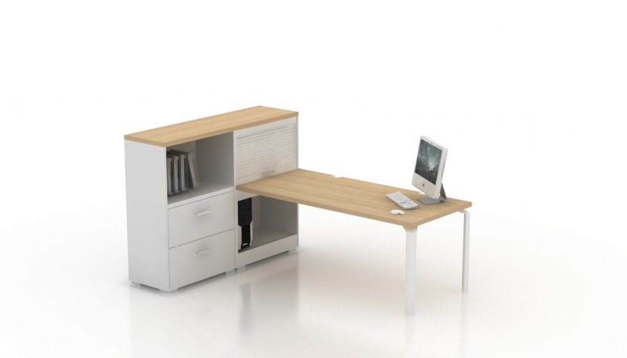 bureau droit epure 140x80 avec meuble de rangement haut. Black Bedroom Furniture Sets. Home Design Ideas