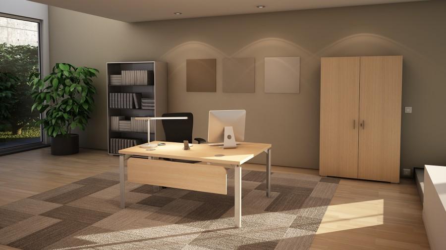 bureau compact 90 asym trique placage bois epure manager. Black Bedroom Furniture Sets. Home Design Ideas