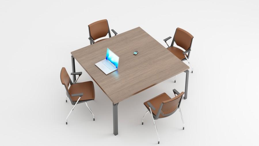 table de r union carr e placage bois 8 places epure manager 4 pieds. Black Bedroom Furniture Sets. Home Design Ideas