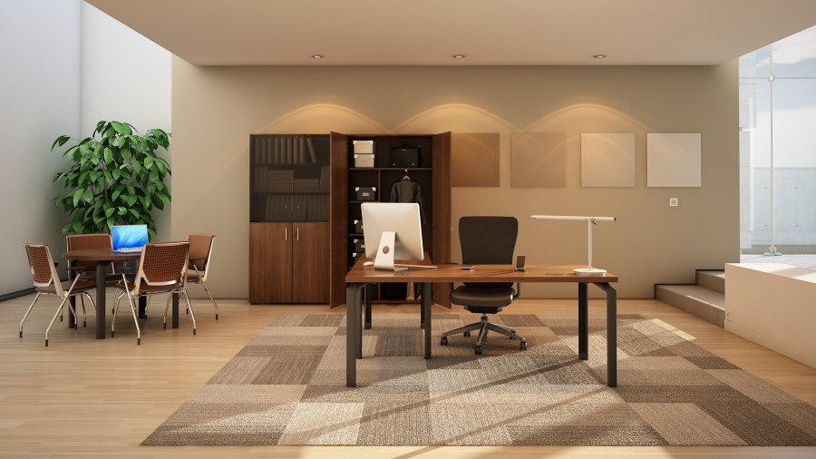 Bureau droit placage bois epure manager 160x100 avec for Bureau 80x60