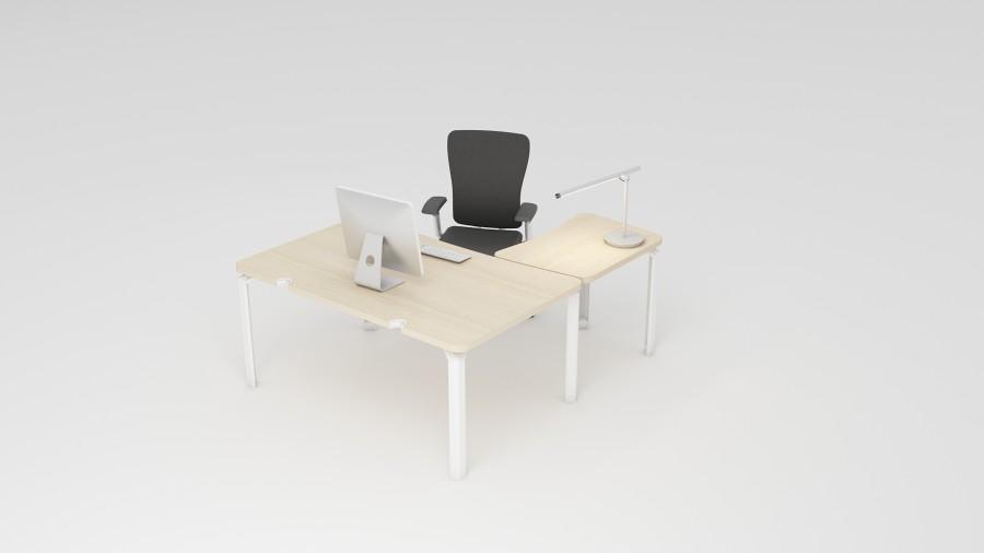 bureau droit ergonomique epure 160x100 angles arrondis. Black Bedroom Furniture Sets. Home Design Ideas
