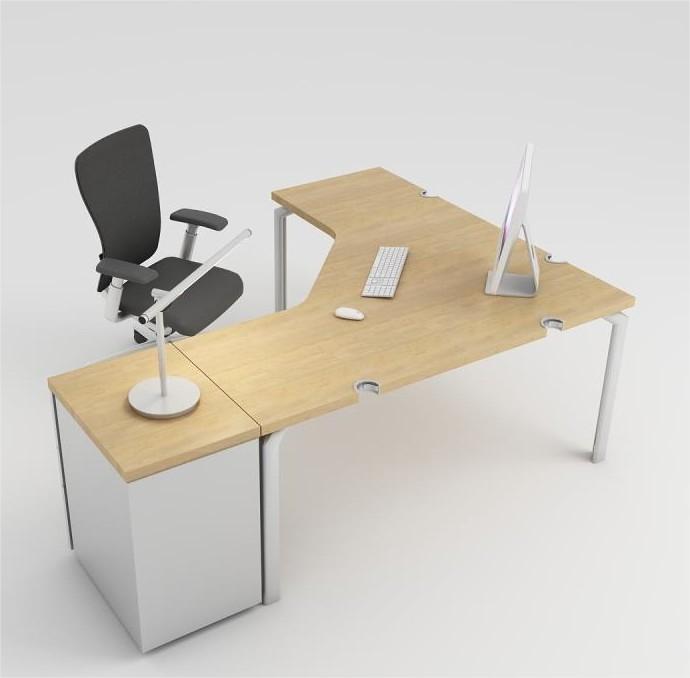 bureau compact 90 sym trique epure 140x140x80 avec. Black Bedroom Furniture Sets. Home Design Ideas