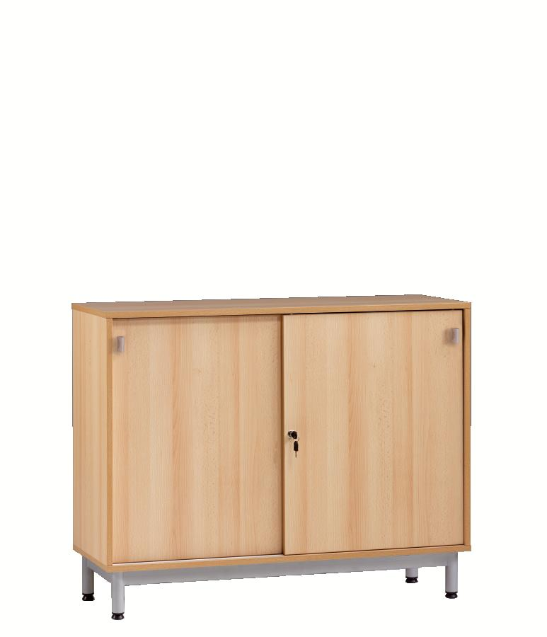 meuble bas bip bop portes coulissantes beige 120 cm. Black Bedroom Furniture Sets. Home Design Ideas