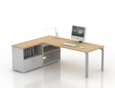 bureau droit epure 140x80 avec meuble de rangement bas. Black Bedroom Furniture Sets. Home Design Ideas