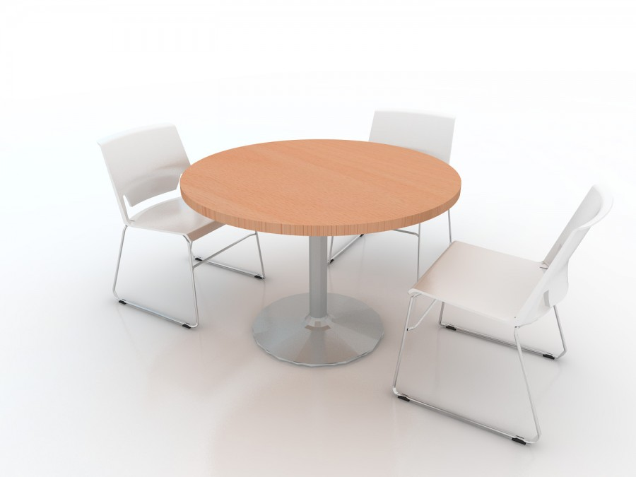 Table de r union ronde 4 places epure pied central - Table 4 personnes dimensions ...