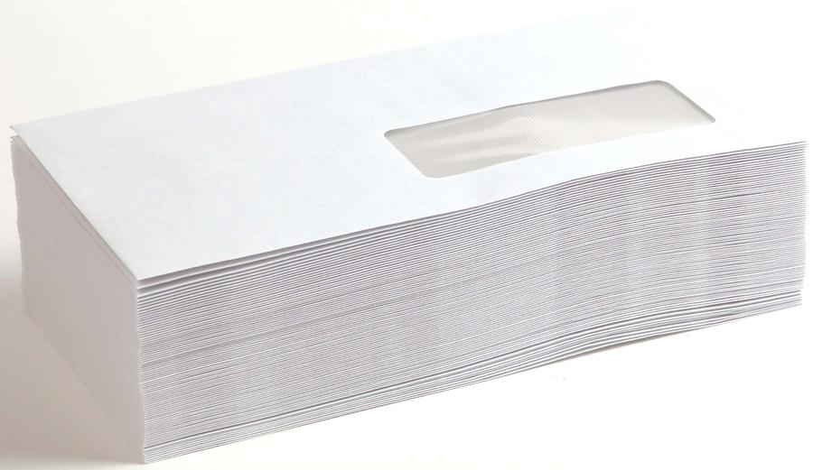 Enveloppe blanche 80 g autocollante 110 x 220 mm fen tre for Pellicule autocollante pour fenetre