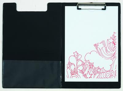 porte bloc avec rabat noir avec pince 23 x 34 cm. Black Bedroom Furniture Sets. Home Design Ideas