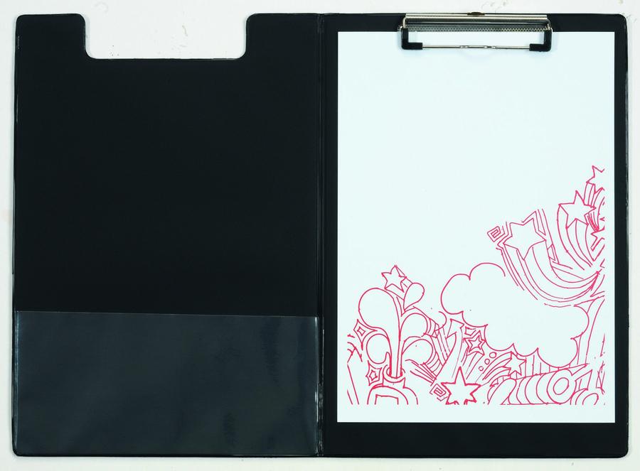 Porte bloc avec rabat noir avec pince 23 x 34 cm - Support photo avec pince ...