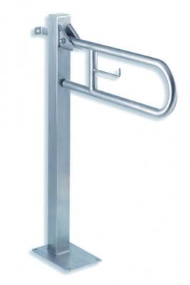barre d 39 appui avec pied de soutien inox 75x72 cm bgc710cs fixation mur et sol. Black Bedroom Furniture Sets. Home Design Ideas