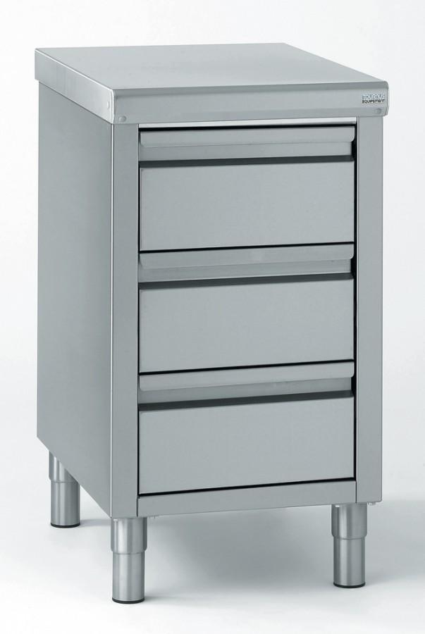 Meuble de rangement bas inox 3 tiroirs gn 1 1 15cm 50x70cm - Meuble bas rangement fly ...