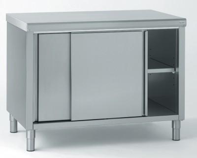 meuble de rangement bas inox 2 portes coulissantes 100x90x70cm. Black Bedroom Furniture Sets. Home Design Ideas