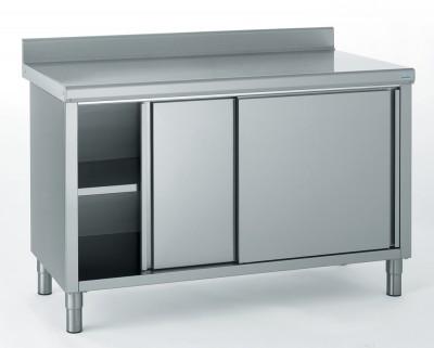 Meuble de rangement bas inox 2 portes coulissantes avec - Meuble bas cuisine porte coulissante ...
