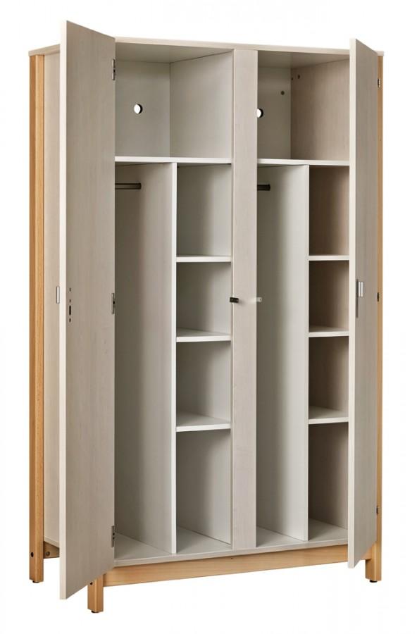 armoire 2 portes nyxos 2 x mi penderie et mi ling re structure h tre verni teint. Black Bedroom Furniture Sets. Home Design Ideas