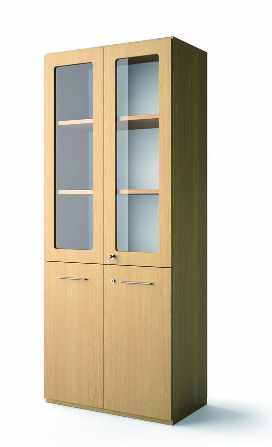 biblioth que placage bois brillance 196x80 3 tablettes portes battantes et haut verre. Black Bedroom Furniture Sets. Home Design Ideas