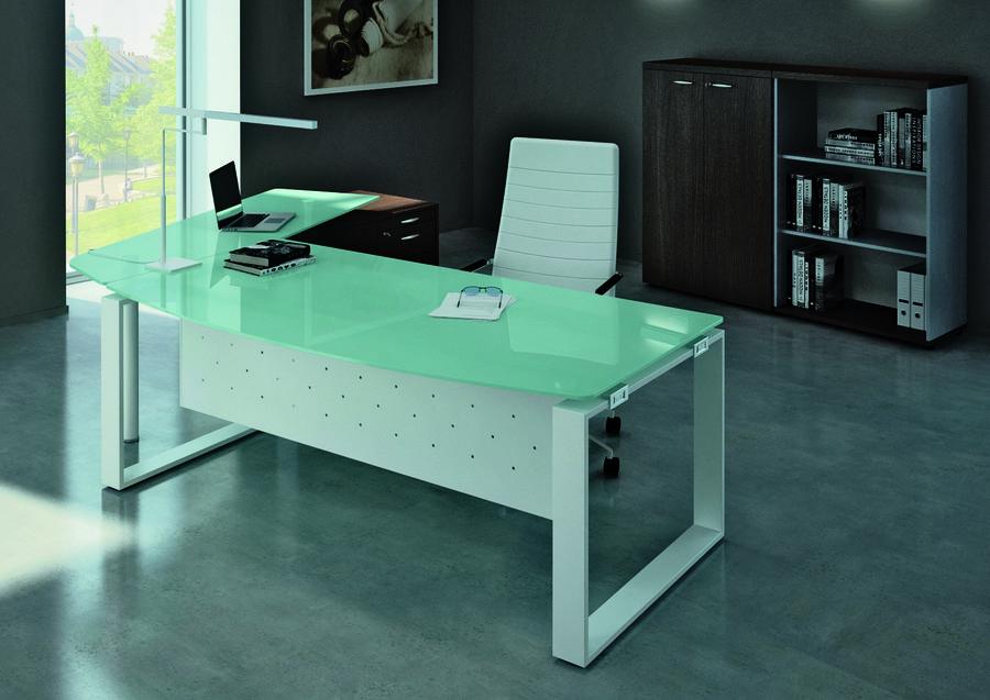 bureau courbe leandre manager 180x90 101 plateau verre pieds cadre avec retour verre sur. Black Bedroom Furniture Sets. Home Design Ideas