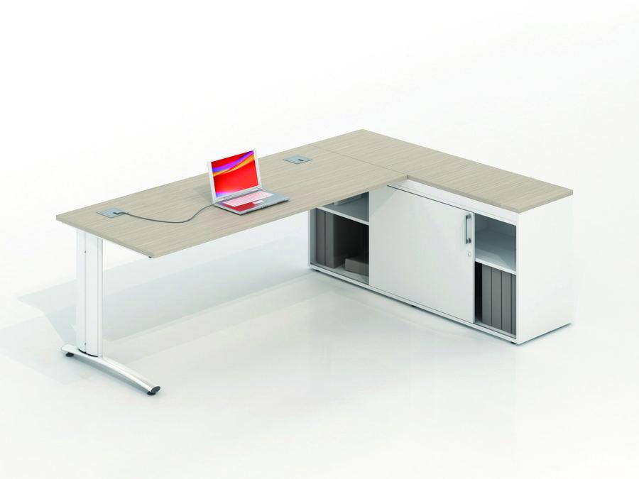 bureau droit vital plus 180x80 meuble de rangement bas 1 porte et 1 niche. Black Bedroom Furniture Sets. Home Design Ideas