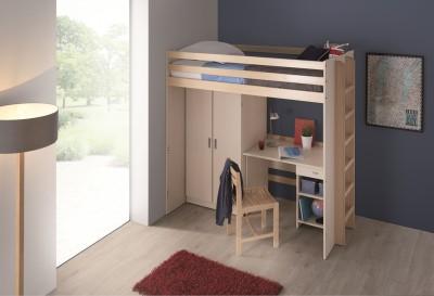 Lit mezzanine 90 x 200 cm morphea sommier panneau armoire 2 portes et bur - Lit mezzanine armoire bureau ...