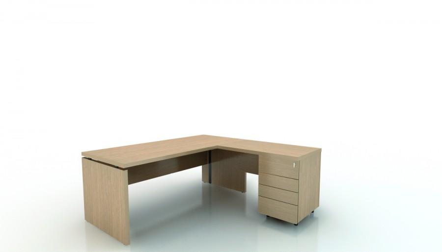bureau droit amphiteo 180x80 avec retour 100x60 sur caisson porteur 4 tiroirs plats. Black Bedroom Furniture Sets. Home Design Ideas