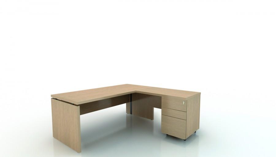 bureau droit amphiteo 180x80 avec retour 100x60 sur caisson 2 tiroirs plats 1 tiroir. Black Bedroom Furniture Sets. Home Design Ideas
