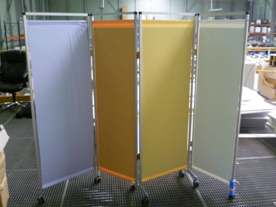 paravent 4 panneaux l224xh167 5 cm rideaux rigides stratifi compact ht 129 cm. Black Bedroom Furniture Sets. Home Design Ideas