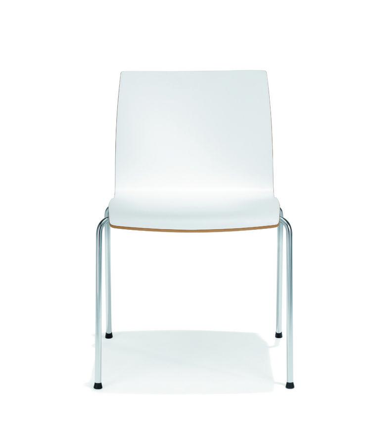 Chaise 4 pieds trio evolution coque stratifi e blanc pi tement chrome for Evolution de la chaise