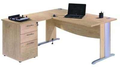 bureau droit majesty 160x80 retour 80x60 sur caisson 2 tiroirs plats 1 tiroir dossiers. Black Bedroom Furniture Sets. Home Design Ideas