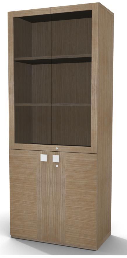 biblioth que placage bois mail 196x80 3 tablettes portes battantes et haut vitr. Black Bedroom Furniture Sets. Home Design Ideas