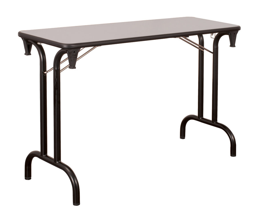 Table pliante dune 120x40 pi tement noir plateau gris clair for Pietement de table pliante
