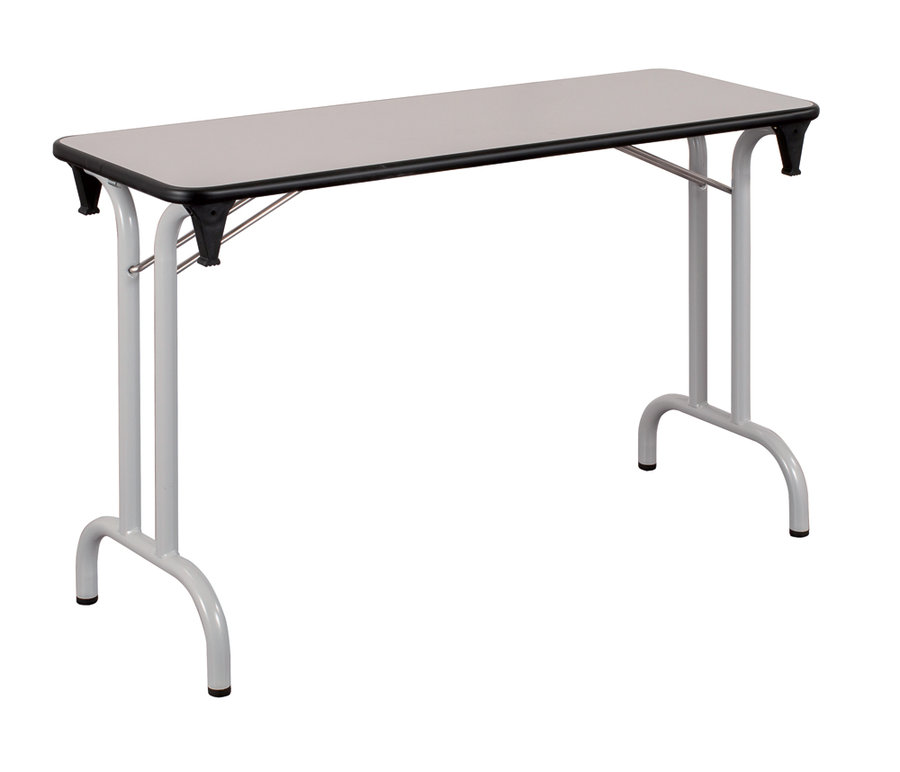 Table pliante dune 120 x 40 pi tement gris alu plateau gris - Pietement pour table pliante ...
