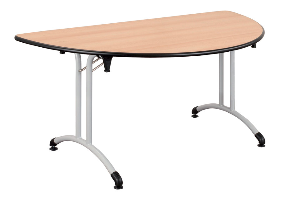 Table pliante demi lune plume l 160 cm pi tement poxy plateau all g for Pietement de table pliante