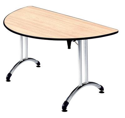 table pliante demi lune plume pi tement chrome plateau all g. Black Bedroom Furniture Sets. Home Design Ideas