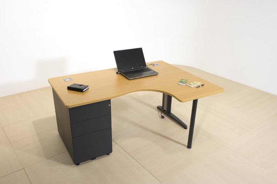 bureau compact 90 asym trique corial 160x120x80x60 avec caisson porteur. Black Bedroom Furniture Sets. Home Design Ideas