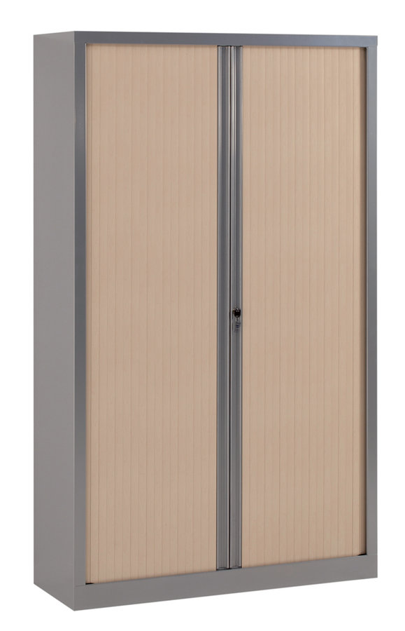 armoire m tallique corial 198x120 4 tablettes fa ade d cor bois fermeture rideaux. Black Bedroom Furniture Sets. Home Design Ideas