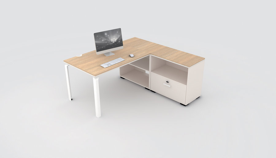 bureau droit epure 120x80 avec meuble de rangement bas chants doubles. Black Bedroom Furniture Sets. Home Design Ideas