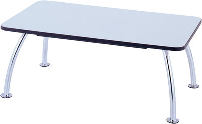 Table basse rectangulaire Crick - 100 x 60 cm - piétement chrome - plateau mélaminé