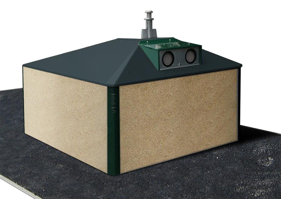 Colonne semi enterr e carr e 4 m avec habillage gravillon lav d me coloris - Habillage colonne beton ...