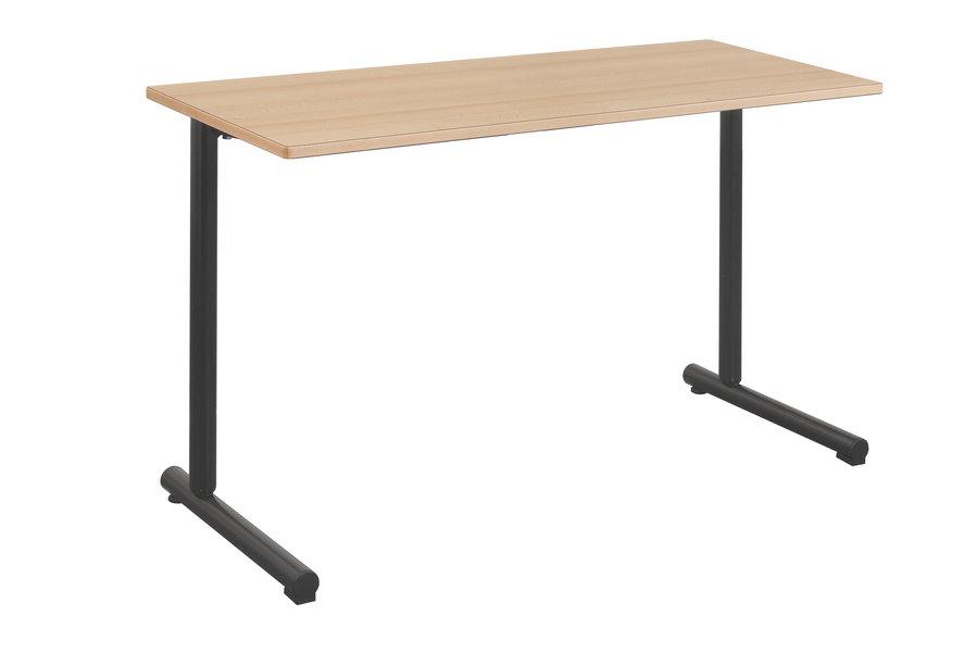 Table Polya 130×50 cm T6  hêtre naturelnoir Pékin  chants alaisés bois  p