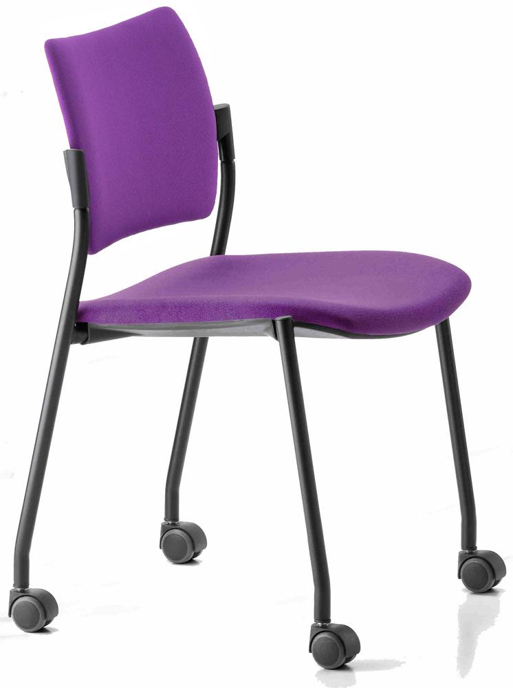 Chaise de bureau Bella tissu noir panthère roulette sol dur
