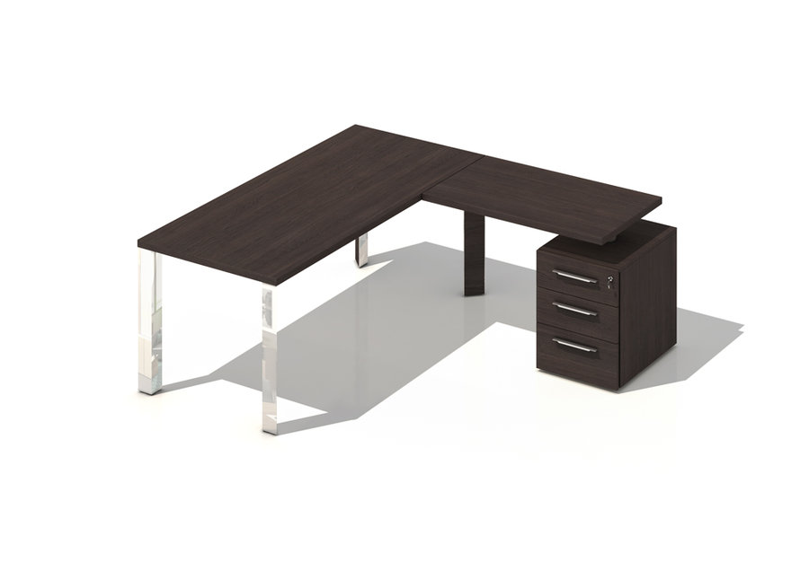 bureau droit brillance 180x80 pi t chrome bois avec retour sur caisson 3 tiroirs plats. Black Bedroom Furniture Sets. Home Design Ideas