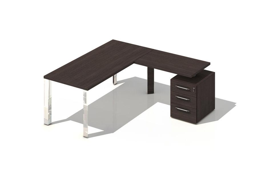 bureau droit brillance 180x80 pi t chrome bois avec retour sur caisson 3 tiroirs plats. Black Bedroom Furniture Sets. Home Design Ideas