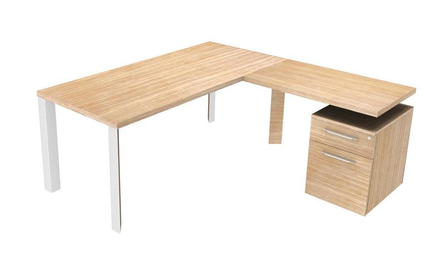bureau droit brillance 180x80 pi t chrome bois avec retour sur caisson 1 tiroir 1. Black Bedroom Furniture Sets. Home Design Ideas