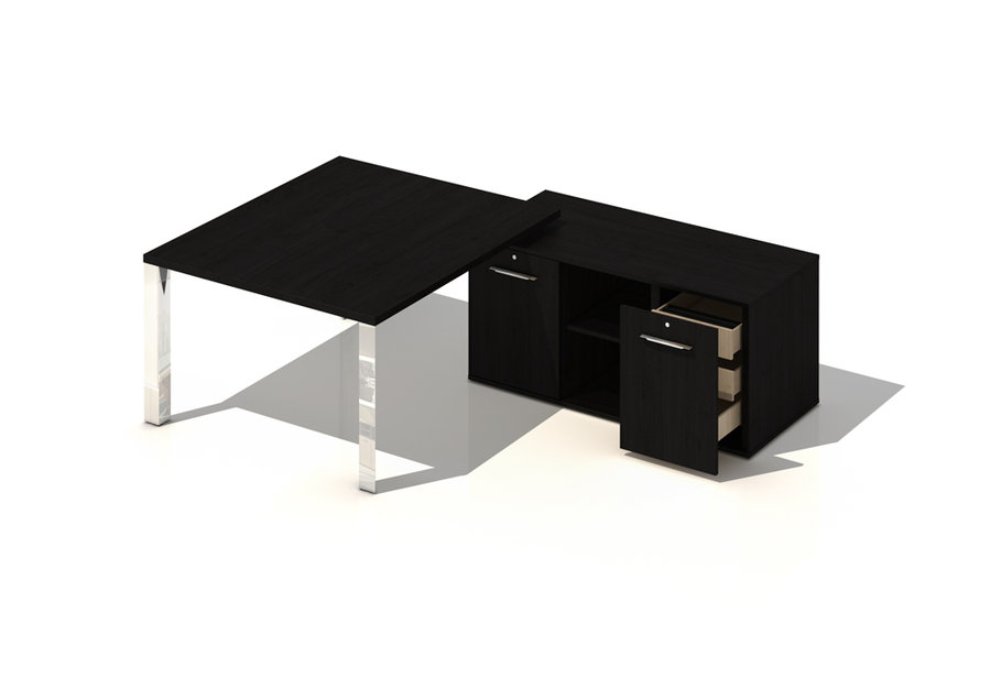 bureau droit brillance 140x120 pi t chrome bois sur desserte. Black Bedroom Furniture Sets. Home Design Ideas