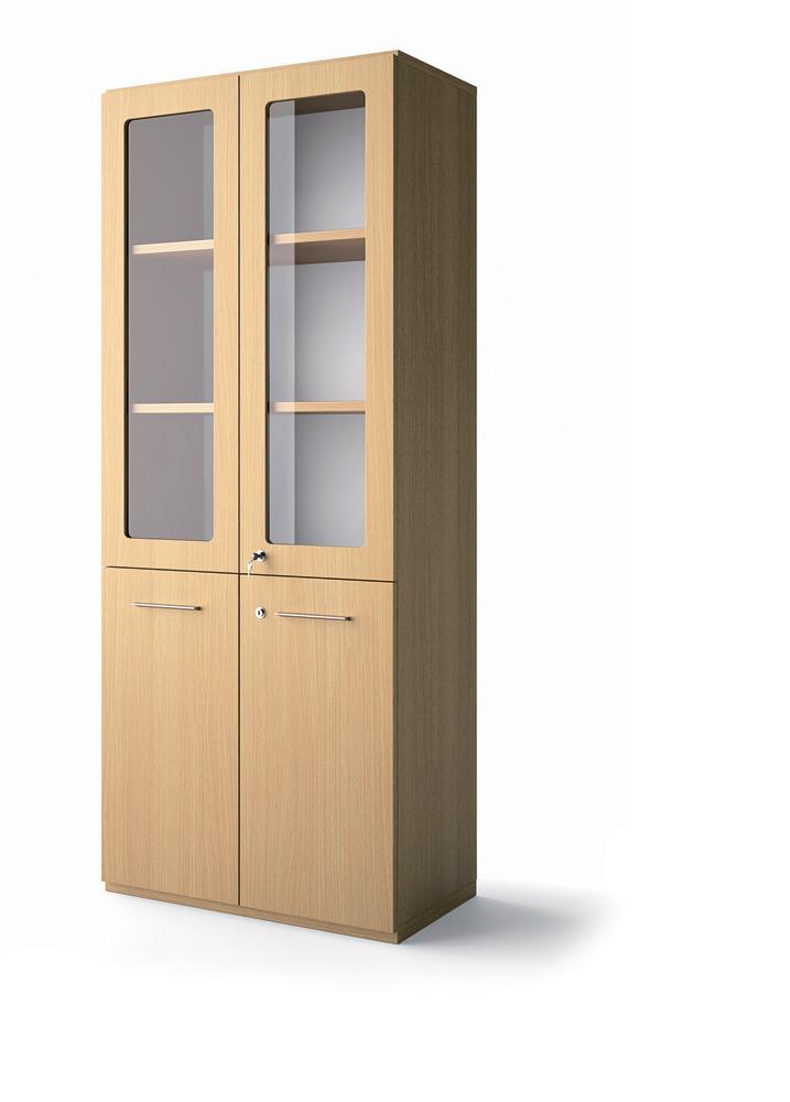 biblioth que placage bois brillance 196x80 portes battantes et haut verre transparent 3. Black Bedroom Furniture Sets. Home Design Ideas