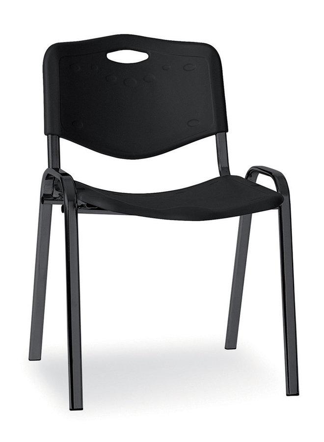 chaise visiteur 4 pieds saturn plastique noir lot de 4. Black Bedroom Furniture Sets. Home Design Ideas