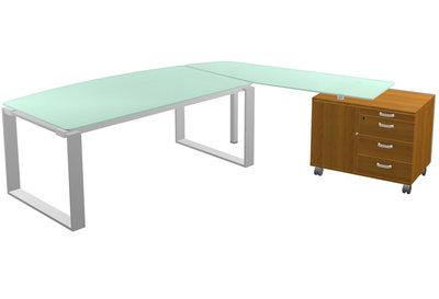 bureau courbe l andre manager 180x90 101 plateau verre pieds cadre avec retour verre sur. Black Bedroom Furniture Sets. Home Design Ideas