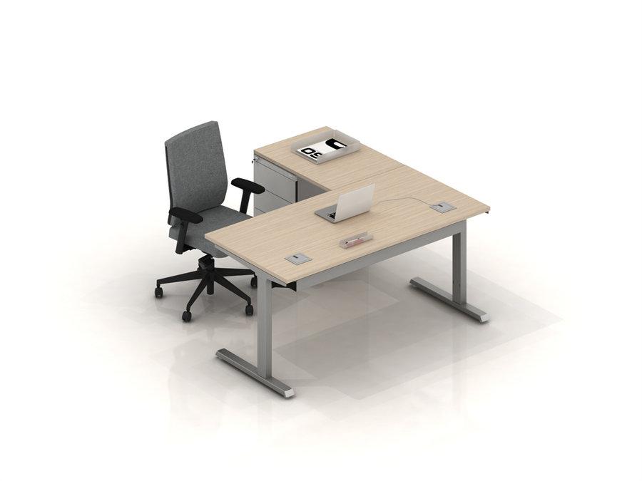 bureau droit inn o 180x80 retour 80x60 sur caisson porteur 2 tiroirs plats 1 tiroir. Black Bedroom Furniture Sets. Home Design Ideas