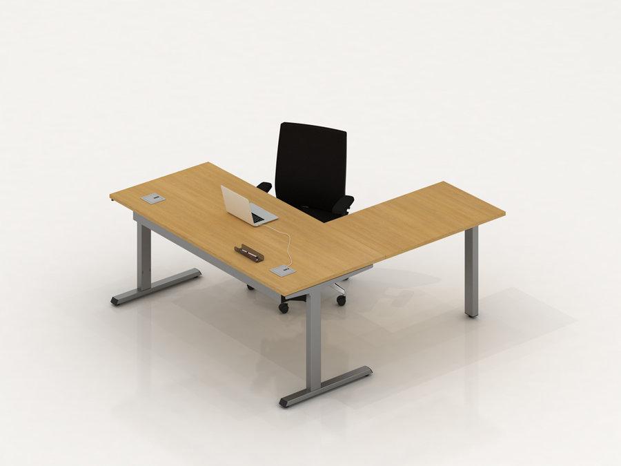 bureau droit placage bois inn o manager 180x80 avec retour 100x62 5. Black Bedroom Furniture Sets. Home Design Ideas