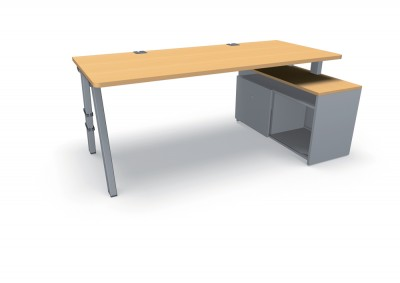 bureau droit fusion 180x80 sur meuble de rangement avec porte 4 pieds. Black Bedroom Furniture Sets. Home Design Ideas
